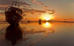 Картинка солнце, отражение, корабли
