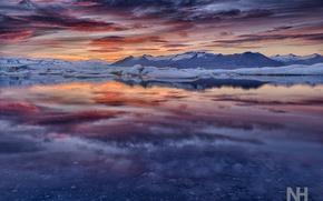 Картинка закат, горы, океан, ледник