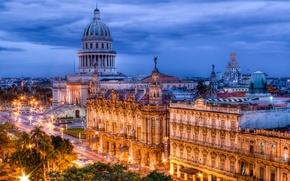 Картинка огни, вечер, Куба, Гаванна