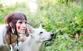 Картинка девушка, животное, волк, косплей, cosplay, Принцесса мононоке, Princess mononoke