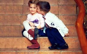 Обои дети, нежность, поцелуй, мальчик, девочка, girl, друзья, kiss, boy, friends, children