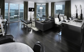 Картинка дизайн, стиль, интерьер, квартира, мегаполис, жилая комната