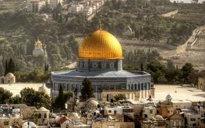 Картинка пейзаж, дома, храм, купол, Израиль, Jerusalem