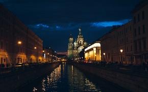 Картинка ночь, собор, санкт-петербург