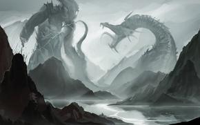 Картинка горы, река, лодка, монстр, пасть, клыки, битва, схватка, sakimichan