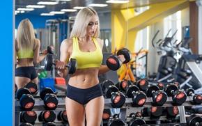 Картинка blonde, workout, fitness, training, dumbbells