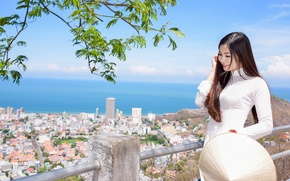 Картинка лицо, город, улыбка, волосы, панорама, прогулка, азиатка