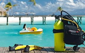 Картинка пляж, пальмы, океан, отдых, отпуск, курорт, белый песок, Maldives, diving, Halaveli