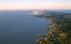 Картинка море, побережье, горизонт, коса, Литва, Nida