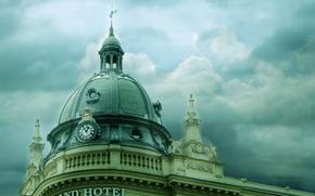 Картинка крыша, облака, здание, часы