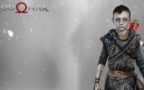 Картинка red, red hair, blizzard, Kratos, God of War, blue eyes, snow, boy, leather, tattoo, redhead, …