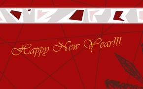 Картинка красный, новый год, Red, Happy New Year, снежинка, поздравление, New Year, открытка