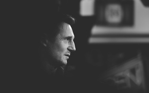 Картинка силуэт, черный и белый, silhouette, Liam Neeson, Лиам Нисон, black & white