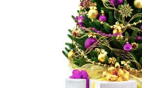Картинка белый, фон, праздник, widescreen, шары, обои, елка, новый год, ель, подарки, wallpaper, new year, бантик, ...
