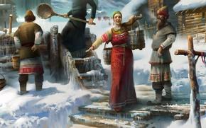 Картинка зима, вода, снег, люди, деревня, колодец, россия, русь