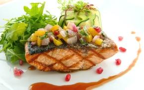 Картинка рыба, овощи, соус, семга