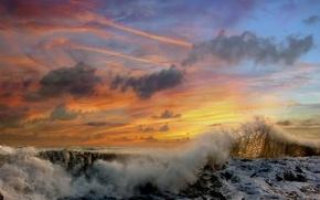 Картинка облака, закат, Волны