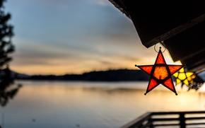 Картинка природа, озеро, звёзды