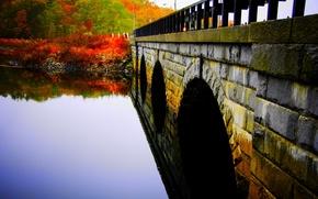 Обои вода, деревья, мост, гладь, парк, река, Осень, каменный