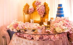 Картинка цветы, стол, праздник, розы, торт, свадьба, декор, сервировка