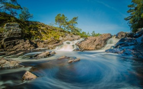 Картинка небо, деревья, река, камни, скалы, поток