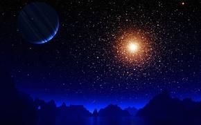 Картинка звезды, горы, озеро, вселенная, планета