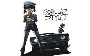 Обои машина, музыка, группа, Chevrolet, Camaro, gorillaz, noodle, гориллаз, stylo, Murdoc