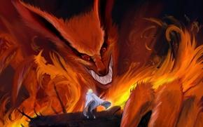 Картинка пламя, оскал, лис, плащ, девятихвостый, naruto, namikaze minato, шаринган, кьюби