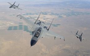 Картинка Su-30 MKI, Су-30 МКИ, Полет, Истребители, ВВС Индии, Учения