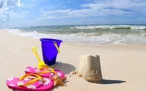 Картинка beach, sea, sand, bucket, sand Castle, scoop