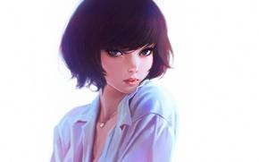 Картинка глаза, взгляд, девушка, рисунок, аниме, ожерелье, арт, прическа, декольте, блузка, girl, вырез, плечо, blouse, соблазн, …