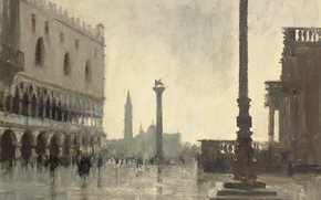 Картинка картина, городской пейзаж, Эдуард Сиго, Зимнее Утро. Дворец Дожей. Венеция