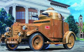 Картинка дорога, город, улица, арт, два, вооружение, японский, бронеавтомобиль, пулемета, М25, 71-мм, Тип 87, Vickers, башне, …