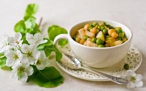 Обои цветы, салат, чашка