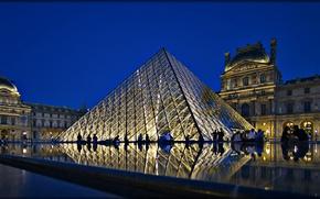 Обои огни, Париж, ночь, дворец, Франция, Louvre