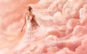 Обои женщины, облака, розовый