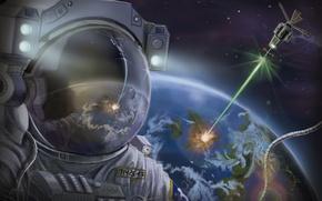 Картинка луч, земля, скафандр, арт, астронавт, спутник, планета, космос