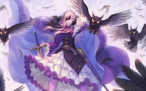 Картинка магия, Девушка, крест, меч, перья, воин, маска, плащ, ножны, горящие глаза, пемень, филины