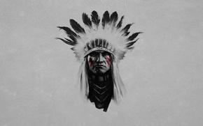 Картинка черно-белый, перья, серьезный, живопись, индеец, краснокожий, полоски красные, вождь
