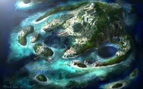 Картинка острова, город, маяк, лодки, водопады, бухты, гавани, Diablo 3 искусства, Питера Ли