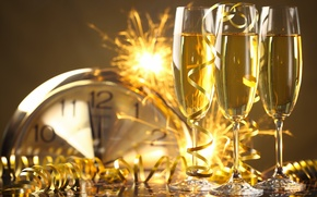 Картинка Новый Год, бокалы, golden, шампанское, серпантин, New Year, celebration, holiday, Happy, champagne