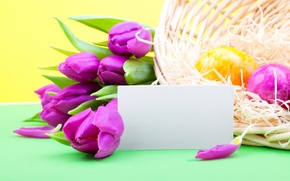 Обои цветы, праздник, сиреневые, тюльпаны, Пасха, яйца, пасхальные, весна
