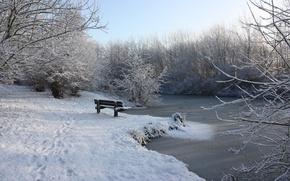 Картинка зима, снег, река, лавочка