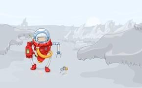 Картинка фантастика, планета, робот, вектор