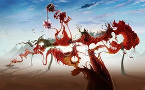 Картинка небо, облака, абстракция, стиль, узоры, краски, рисунок, colors, sky, style, patterns, clouds, abstraction, 2560x1440, picture