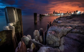 Картинка закат, огни, вечер, Чикаго, конец зимы