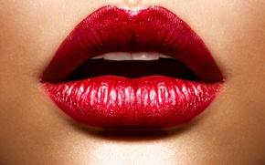 Картинка девушка, лицо, помада, красные губы, Red Lips, Make up