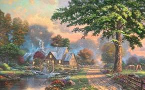 Картинка лето, дом, река, ручей, лошадь, колесо, деревня, живопись, painting, Thomas Kinkade, Kinkade, Simpler Times, водяное …