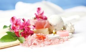 Картинка цветы, свечи, морская звезда, морская соль