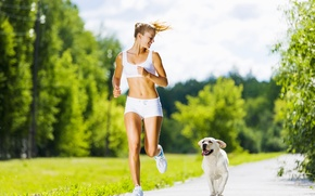 Картинка woman, dog, running, physical activity